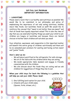 Enrichment Preschool Program Guidelines for Lunch and Nap Time