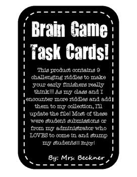 Enrichment Riddle Task Cards!