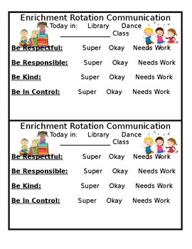 Enrichment Rotation Communication Form