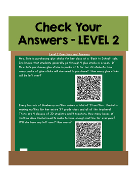 Enrichment Task Cards - QR Codes for Multiplication and Division