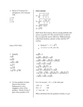 Enrichment Unit on Complex Numbers