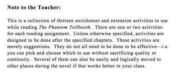 Enrichment and Extension Activities for The Phantom Tollbooth