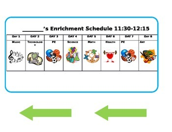 Enrichment and Specials rotation clip chart