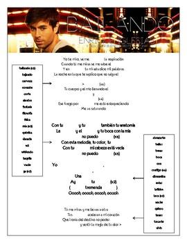 """Enrique Iglesias - """"Bailando"""" Cloze Song Sheet in Spanish!"""