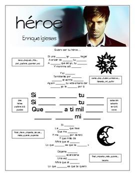 "Enrique Iglesias - ""Hero / Heroe"" Cloze Song Sheet!"
