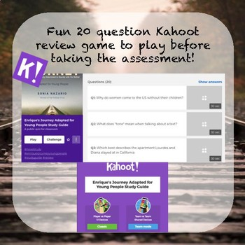 Enrique's Journey Assessments (Essay, Multiple Choice, Short Answer and Kahoot)