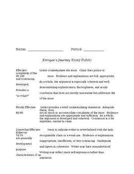 Enrique's Journey persuasive essay prompt and rubric
