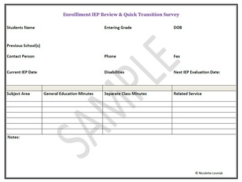 Enrollment IEP Review and Quick Transition Survey