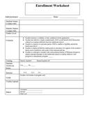 Enrollment Worksheet for Alternative Education Program