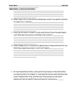 Enruiques Journey Chapter 1 Reading Response Questions