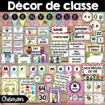 Ensemble d'étiquettes pour la classe - Chevron - French Cl