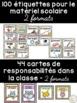 Ensemble d'étiquettes pour la classe- Hiboux -French Class