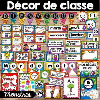 Ensemble d'étiquettes pour la classe - Monstres - French Classroom Decor Bundle