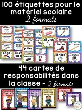 Ensemble d'étiquettes pour la classe -Quadrillage -French Classroom Decor Bundle