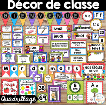 Ensemble d'étiquettes pour la classe -Quadrillage -French
