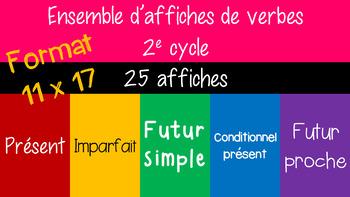 Ensemble d'affiches 5 verbes à 4 temps -format 11x17 - 3e année