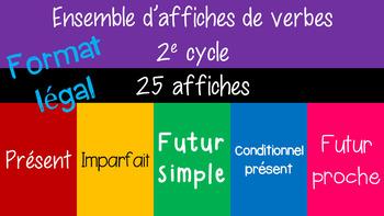 Ensemble d'affiches de 5 verbes à 4 temps - 8½ x 14 - 3e année