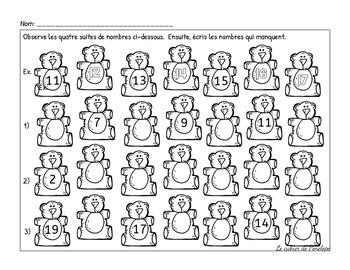 Ensemble de mathématiques sur le thème des oursons(à imprimer-printable)