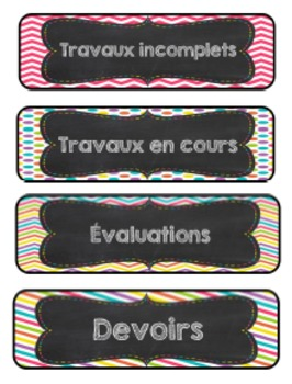Ensemble d'étiquettes chevron pour la salle de classe