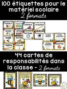 Ensemble étiquettes pour la classe- Abeilles -French Classroom Decor Bundle