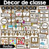 Ensemble étiquettes pour la classe - Burlap - French Classroom Decor Bundle