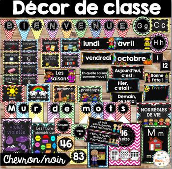 Ensemble étiquettes pour la classe- Noir/chevron -French Classroom Decor Bundle