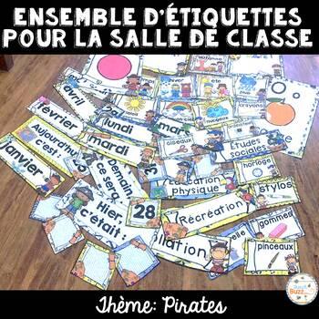 Ensemble étiquettes pour la classe - Pirates - French Classroom Decor Bundle