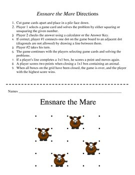Ensnare the Mare - A 2-Player Game to Practice Squaring and Unsquaring Numbers
