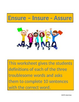 Ensure - Insure - Assure: Troublesome Words for Grades 6-8