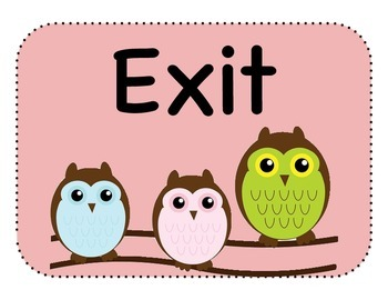 Enter and Exit Signs - Owl Theme