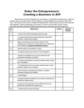 Enter the Entrepreneur Business Project Checklist