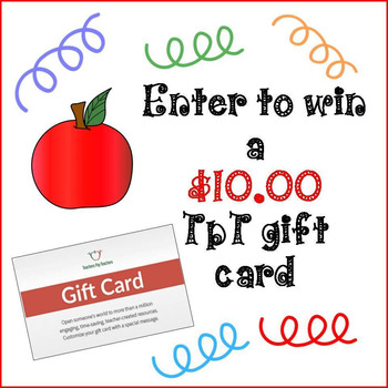 Enter to Win a $10 TPT Gift Card!  (Follow the instructions in the description)