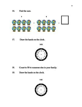 Entering 1st Grade Summer Math Packet