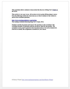 Entering King Tut's Tomb 1923 Primary Source Worksheet