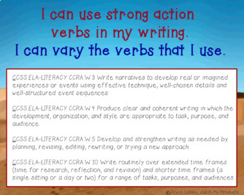 Writing Process : Entering a Story Prompt to Encourage Strong Verbs PowerPoint