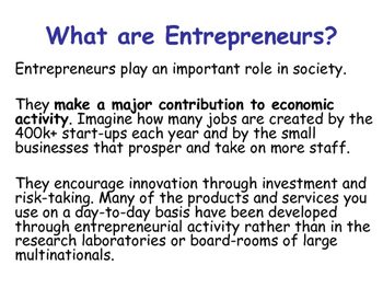 Enterprise & Entrepreneurs - Starting a New Business - Business Studies