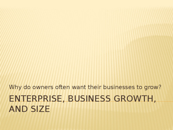 Enterprise, business growth and Size