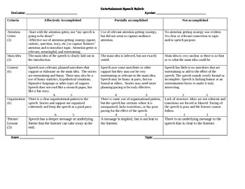 Entertainment Speech Rubric