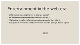 Entertainment in the web era-discussion group bundle