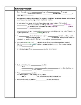 Enthalpy Notes HS-PS3-1