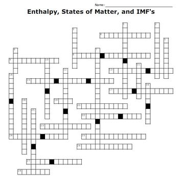 States Of Matter Crossword Worksheets Teaching Resources TpT