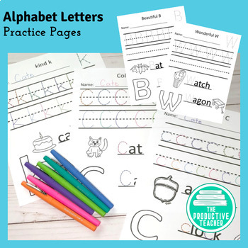 Entire Alphabet - Letter Practice - Tracing and Writing - Worksheets