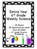 Entire Year 6th Grade Science - Homework or Daily Warm Up