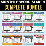 Entire Year Bundle of Print and Digital Word Search Puzzle