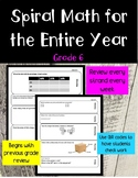 Editable Entire Year of Daily Spiral Math Grade 6