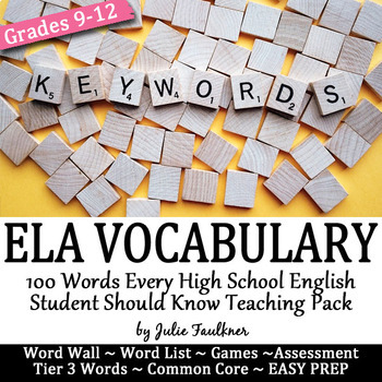 Vocabulary for English Class, 100 Terms, Word Wall, Quiz, Review Games