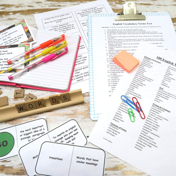 Vocabulary for English Class, 100 Terms, Word Wall, Pre/Post Test, Review Games