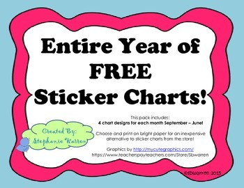 Entire Year of FREE Sticker Charts