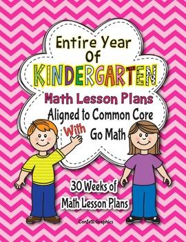 Go Math Common Core Lesson Plans K Kindergarten Entire Year w CCSS Checklist