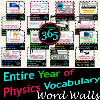 Entire Year of Physics Vocabulary Interactive Word Walls